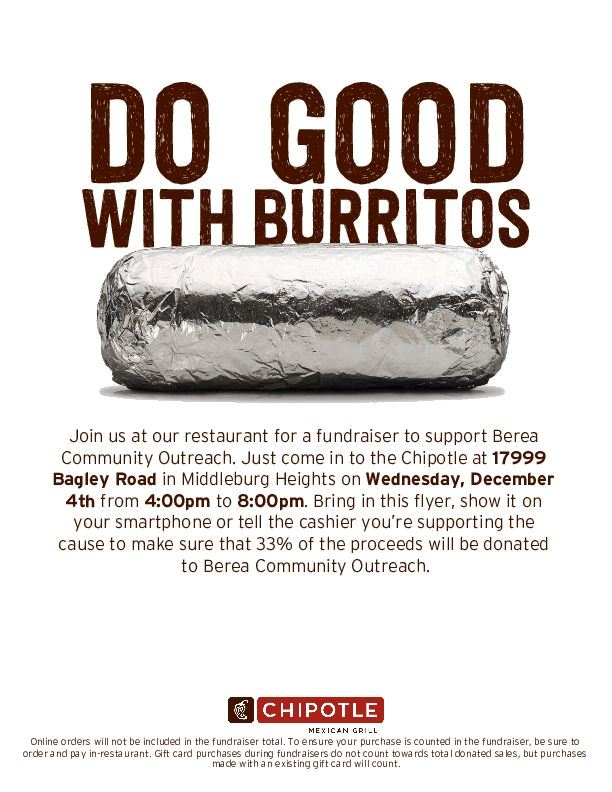 Chipotle Fundraiser for Berea Community Outreach