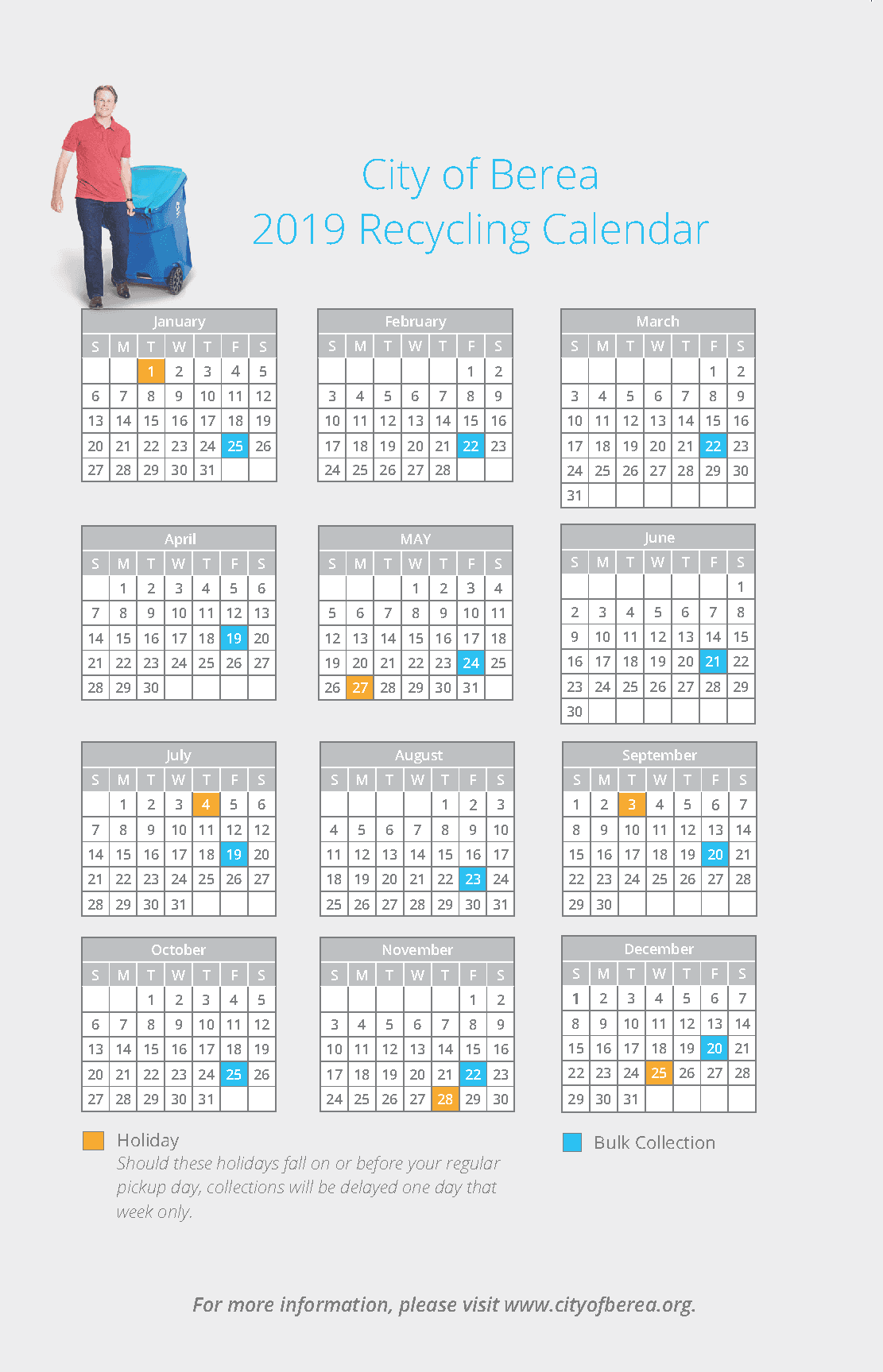 2019 Trash Collection Calendar