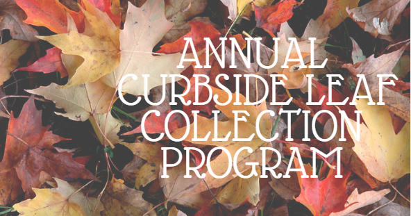 Image of leaves containing the words curbside leaf collection
