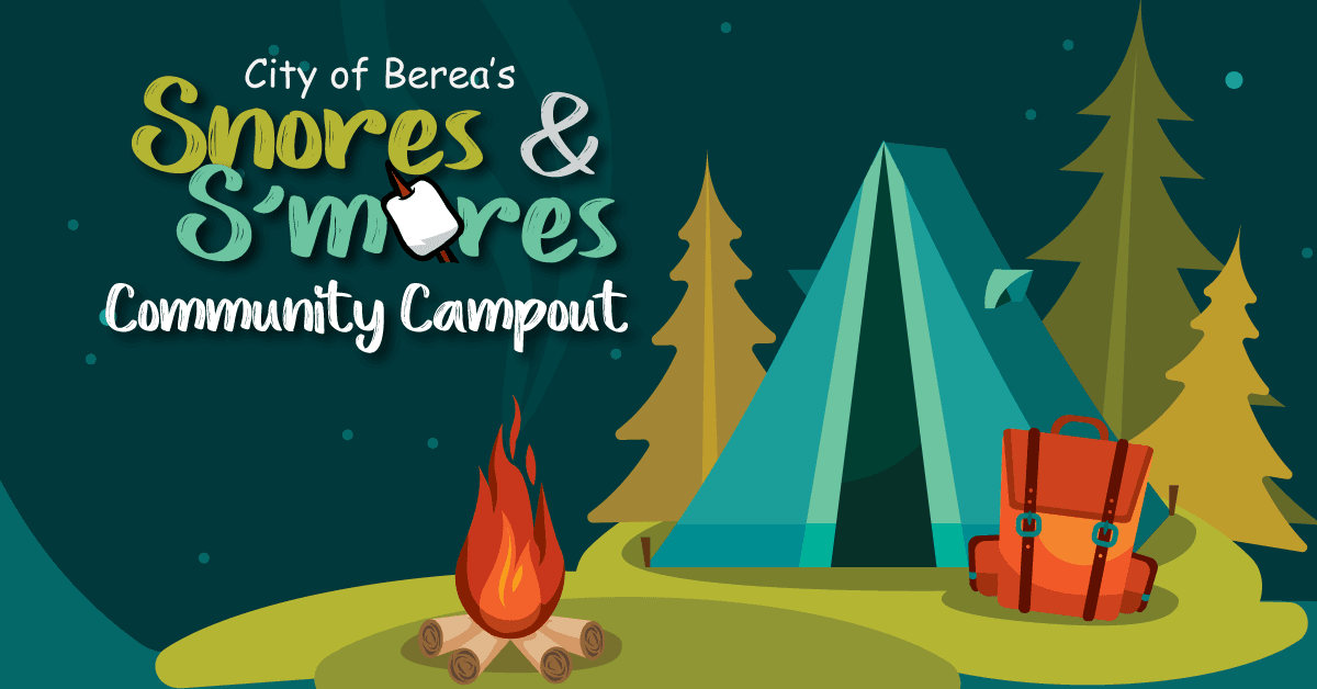 Snores-and-Smores-advertisment with tents and trees